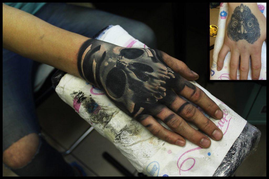 Художественная татуировка-перекрытие «Череп» на кисти