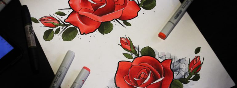 Свободные эскизы «Розы». Мастер Дима Поликарпов