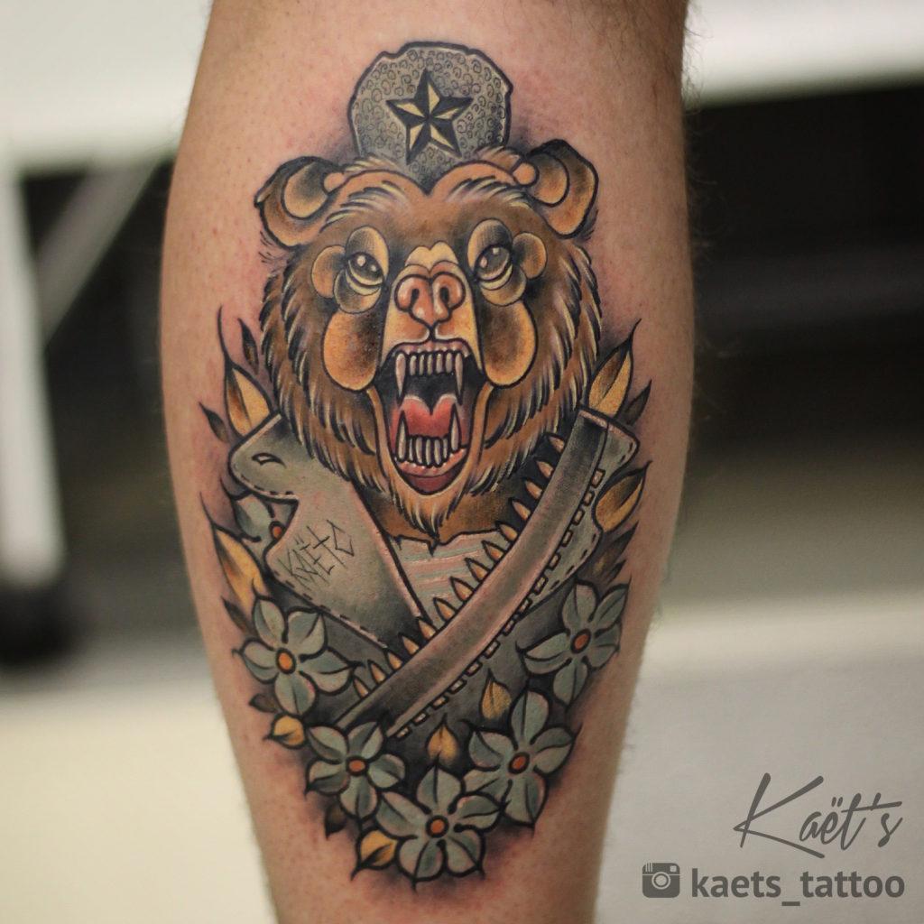 """Художественная татуировка """"Russian Bear"""". Мастер Ил Берёза."""