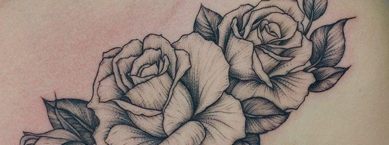 Художественная татуировка «Розы». Мастер Даня Костарев