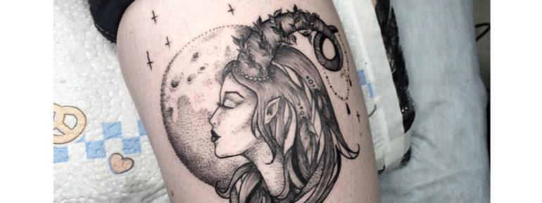 Художественная татуировка «Девушка». Мастер Лилия Ольховская.