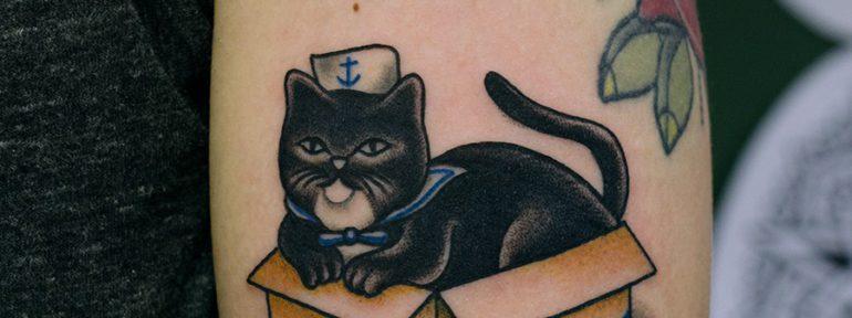 Художественная татуировка «Котик». Мастер Даня Костарев