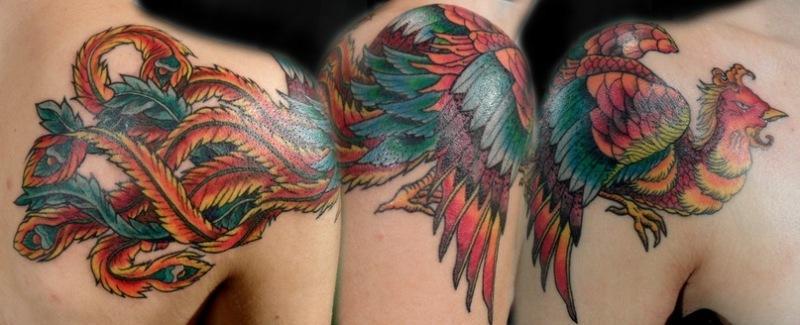 Татуировка Жар-птица на плече