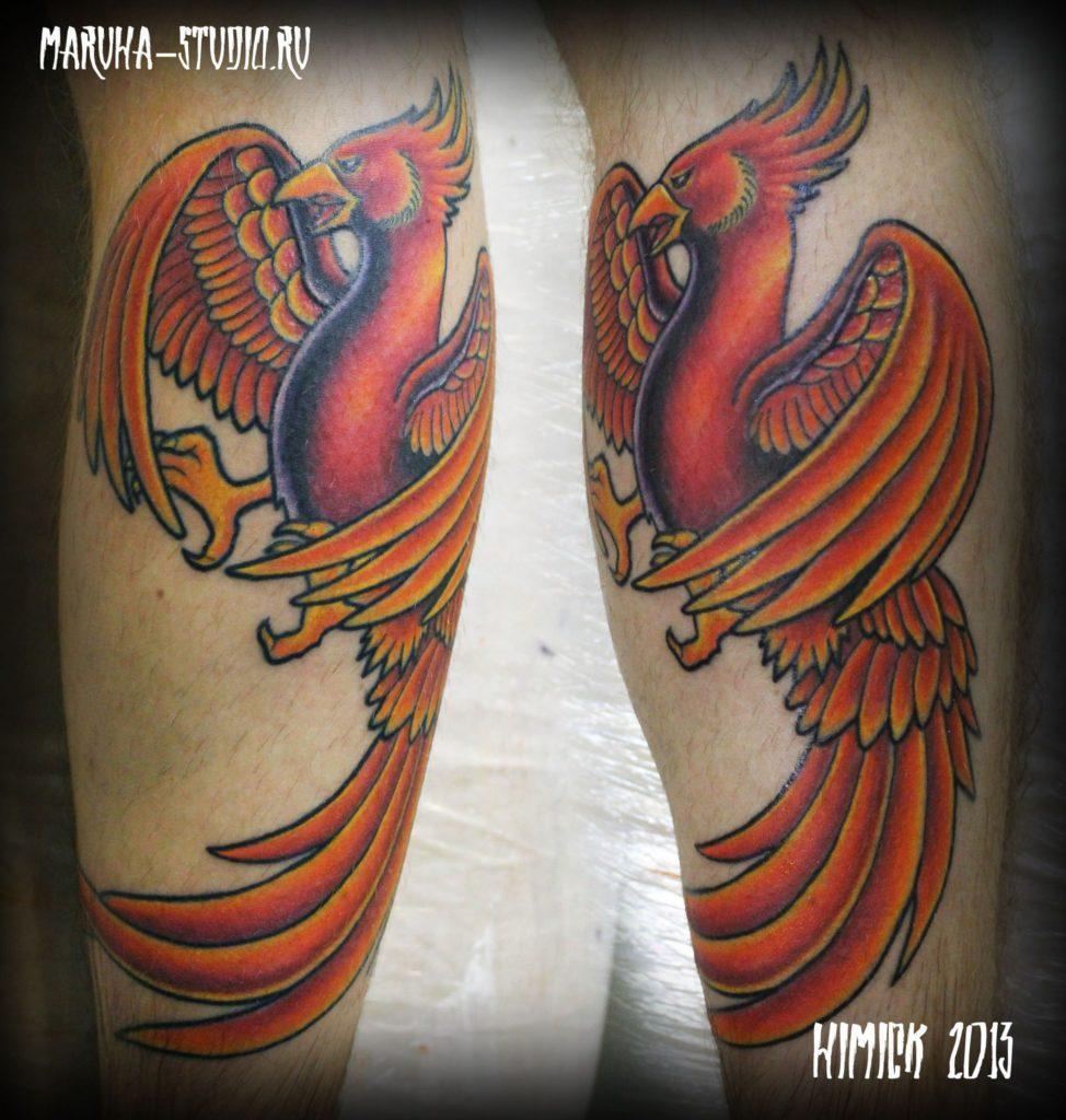 Художественная татуировка «птица феникс»
