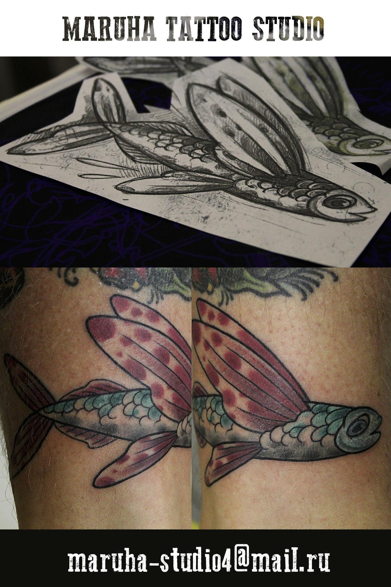 Художественная татуировка Летучая рыба»