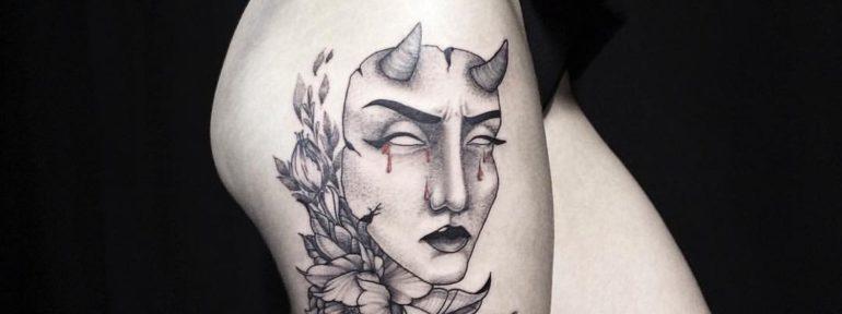 Художественная татуировка «Маска». Мастер- Лилия Ольховская.