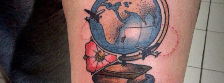 Художественная татуировка «Глобус». Мастер Артем Михайлюта.