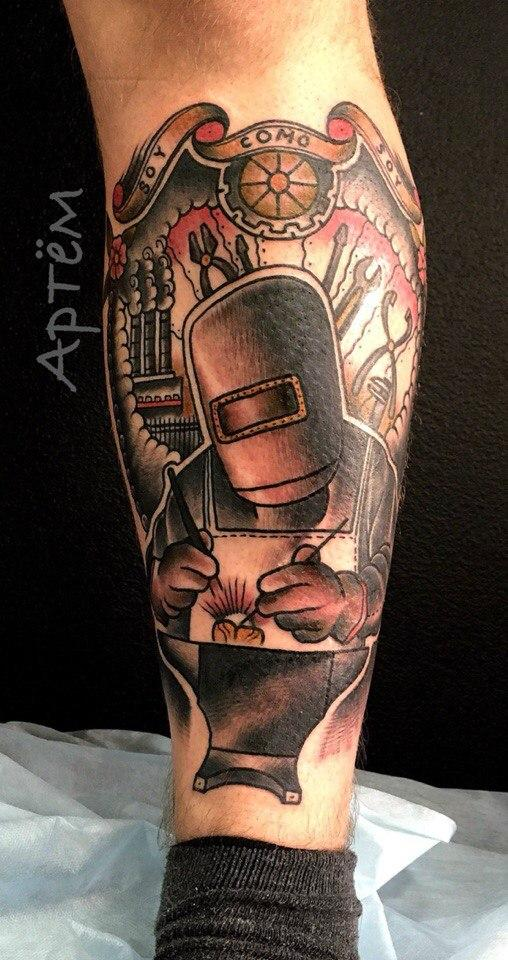 Татуировка «Сварщик». Мастер Артем Михайлюта.