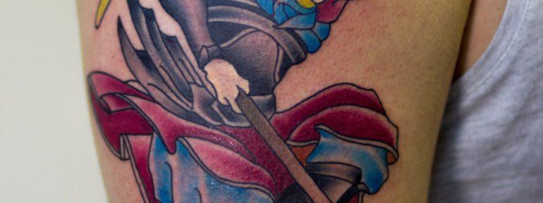 Художественная татуировка «Самурай». Мастер Лёша Стафеев.