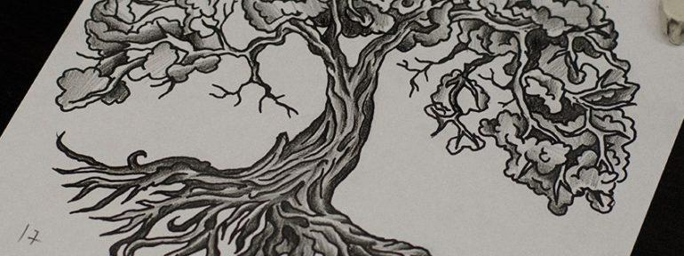 Свободный эскиз «Древо». Мастер Даня Костарев