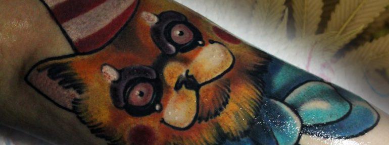 Художественная татуировка «Рыжий кот». Мастер Дима Поликарпов