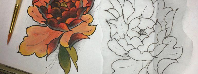 Свободный эскиз «Пион» от мастера художественной татуировки Ильи Берёзкина.