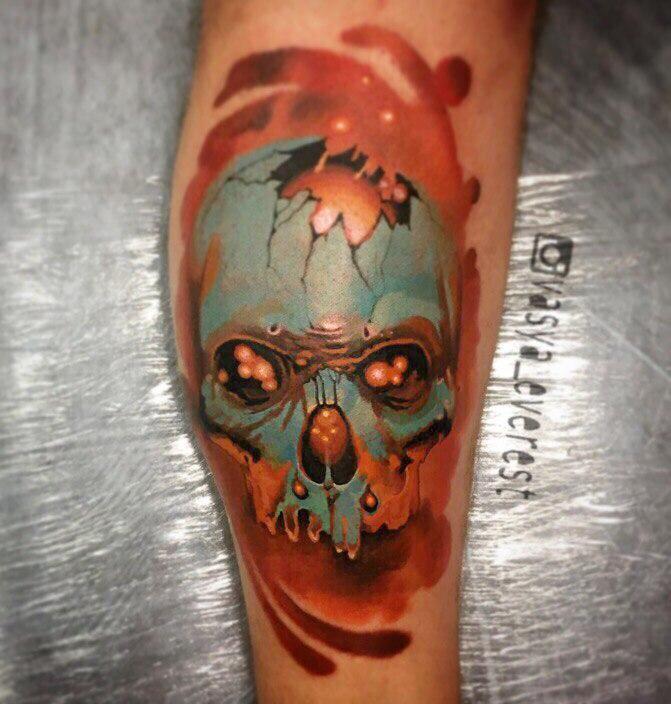 Художественная татуировка «Череп». Мастер- Вася Эверест.