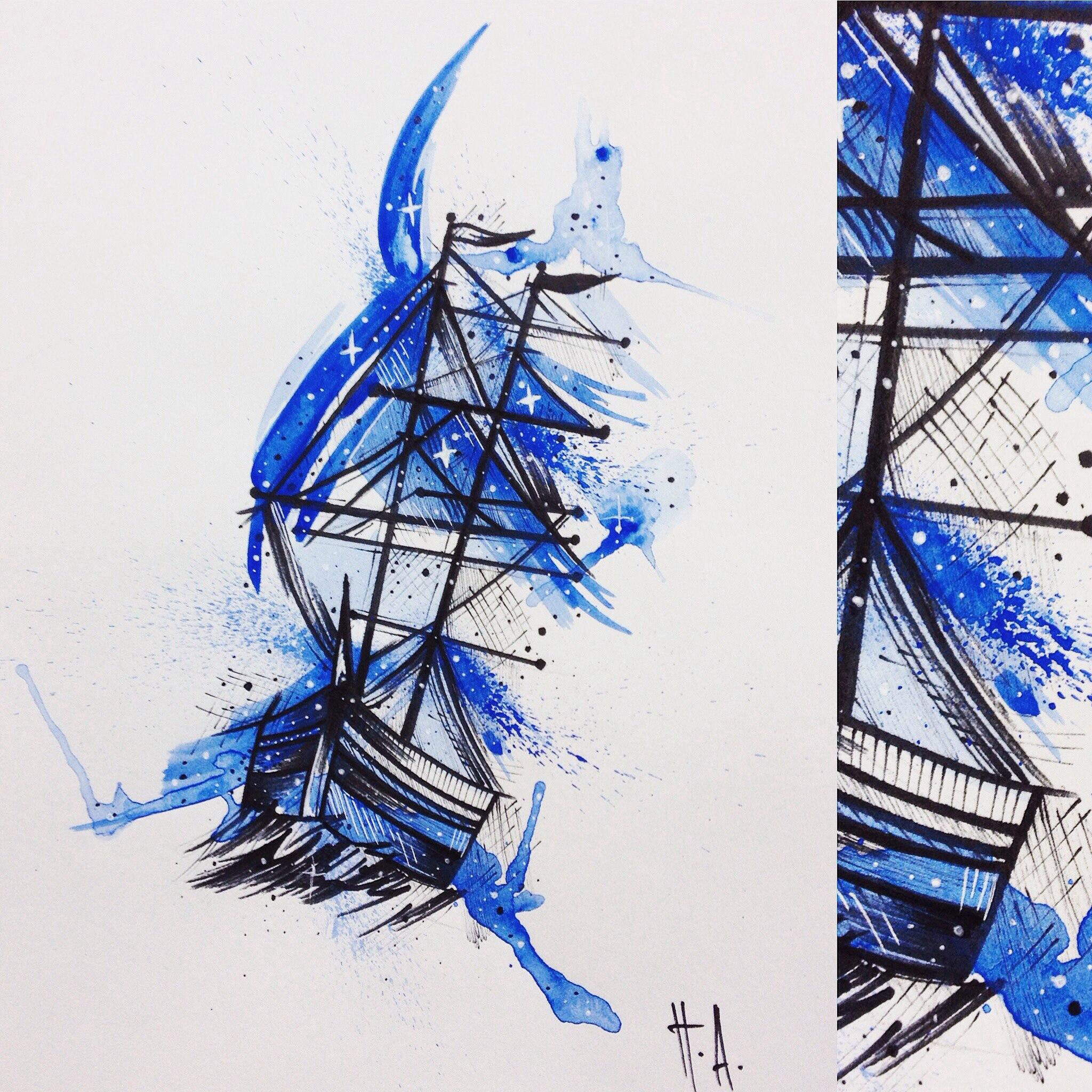 Свободный эскиз «Корабль». Мастер Паша Аникеев