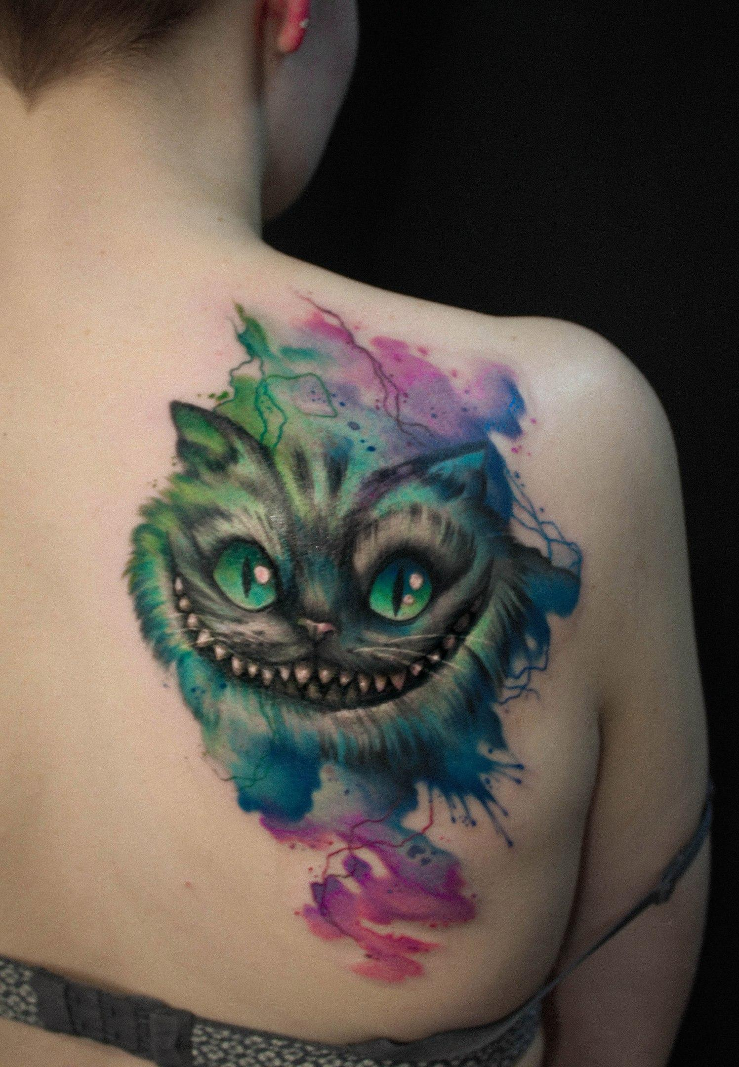 Художественная татуировка «Чеширский кот». Мастер- Анна Корь.