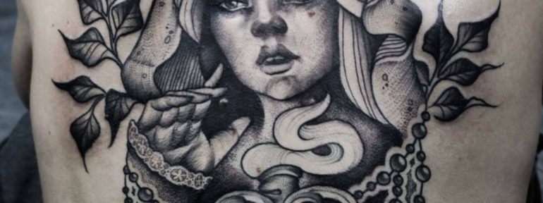 Художественная татуировка «Девушка». Мастер- Анна Корь.