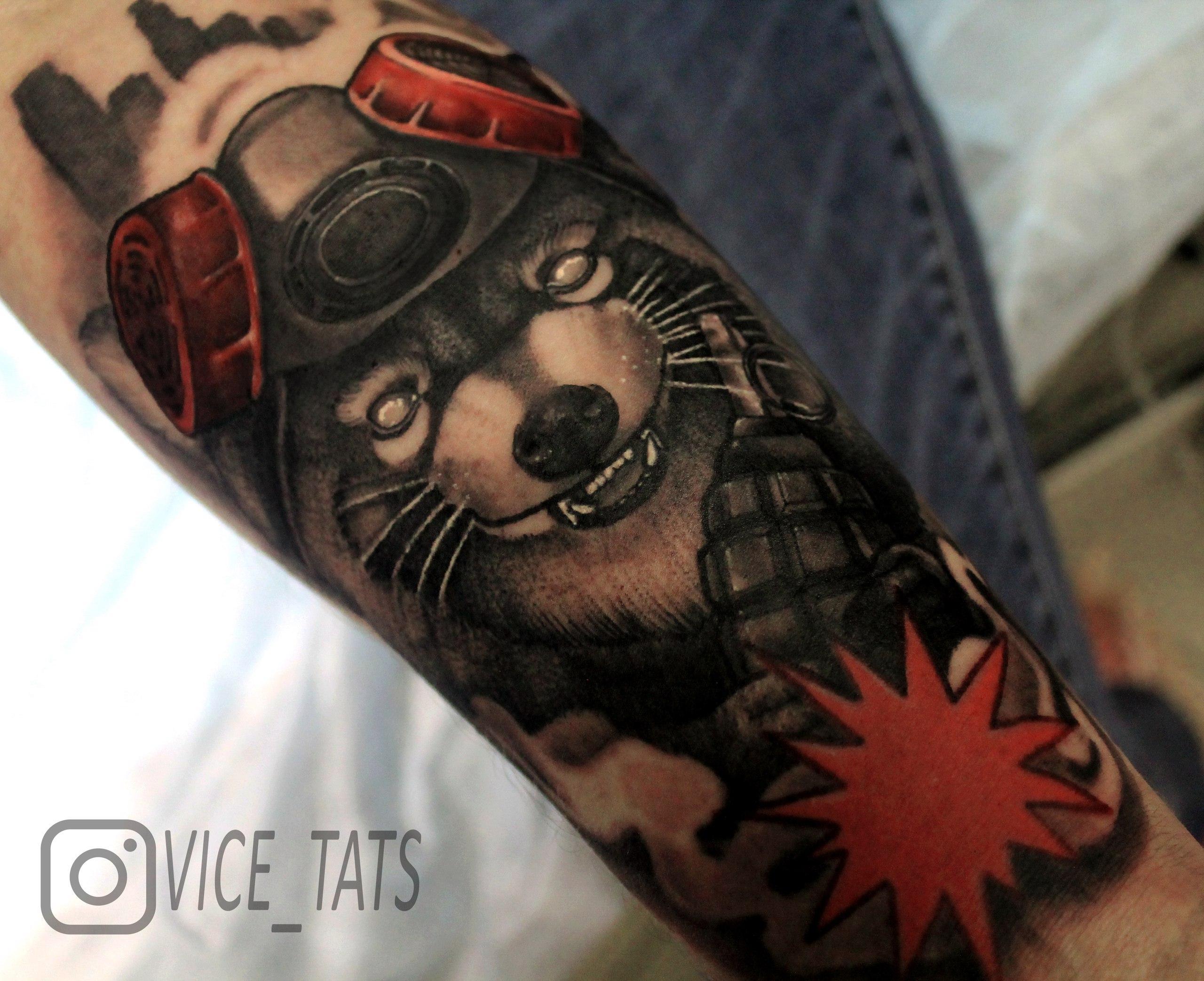 Художественная татуировка «Енот». Мастер Дима Поликарпов