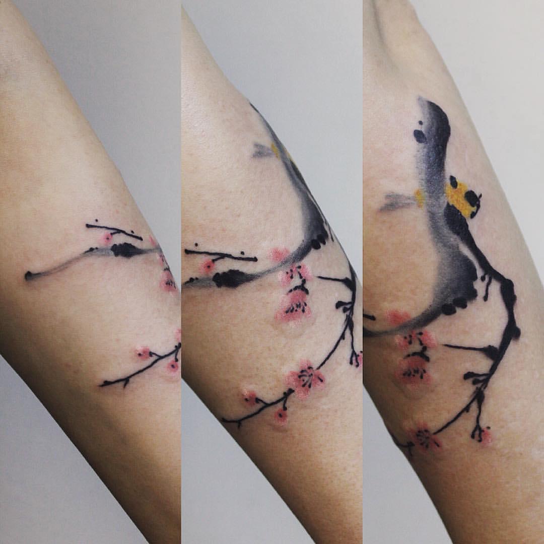 Художественная татуировка «Суми  э». Мастер Паша Аникеев
