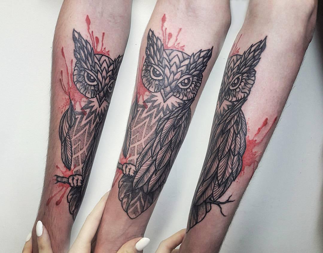 Художественная татуировка «Сова». Мастер Настя Куликова