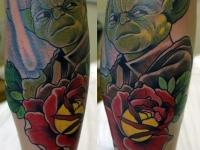Татуировка Мастер Йода на предплечье