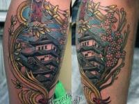 Татуировка дом на икре