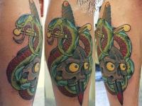 Татуировка череп на голеностопе
