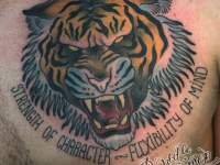 Татуировка тигр на груди