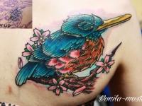 Татуировка птица на лопатке