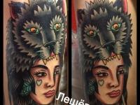 Татуировка девушка-волк