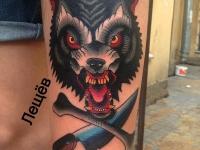 Татуировка голова волка