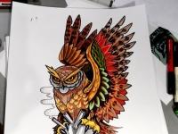 Татуировка филин с сердцем