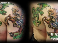 Татуировка богатырь и Змей-Горыныч
