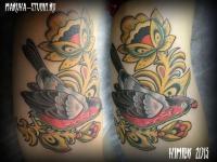 Татуировка хохлома и птица