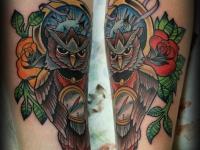 Татуировка филин и часы