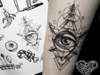 Абстрактная татуировка глаза на руке