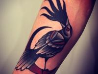 Татуировка птица на полумесяце