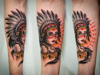 Татуировка девушка-индеец