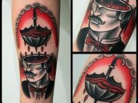 Татуировка голова и зонтик