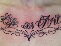 Татуировка надпись на груди