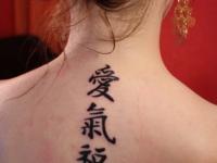 Татуировка иероглифы на снине