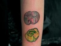 Татуировка слон и пони на предплечье