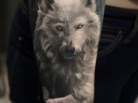 Татушка волка с горящими глазами на предплечье