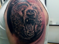 Татуировка голова медведя на плече