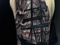 Татуировка большой корабль с мачтами