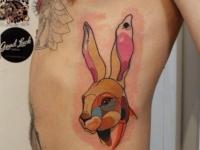 Татуировка разноцветная голова зайца