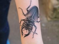 Тату жук олень на руке