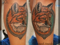 Татуировка голова лиса на икре