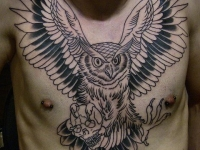 Татуировка филин с черепом на груди