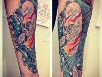 Татуировка кашалот на предплечье