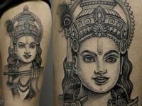 Татуировка в виде красивой восточной  девушки на руке